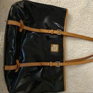 Black shiny black leather shoulder bag